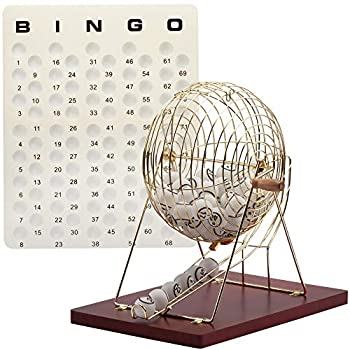 Image of Bingo Sets GSE Games & Sports Expert Professional Bingo Game Set with Large Bingo Cage, 1.5-Inch Ping Pong Style Bingo Balls, Plastic Masterboard
