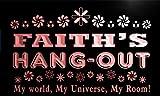 pq479-r Faith's Hang Out Girl Kid's Room Light Neon Sign