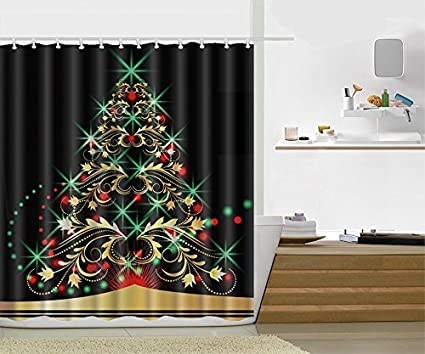 christmas bathroom accessories decoration vintage 3d shower curtain classical religious objects candle bell mistletoe ribbon - Christmas Bathroom Decor Amazon