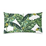 InterestPrint Exotic Tropical Banana Palm Leaves Decor Pillow Cover Case King Size 20x36 Inch Twin Sides, Decorative Rectangle Zippered Pillowcase Protector