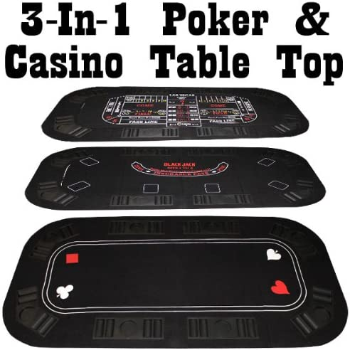 Includes 2 Decks of Cards! Brybelly Poker Craps /& Blackjack 3-in-1 Tri-Fold Table Top