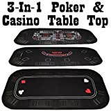 Poker, Craps & Blackjack 3-in-1 Tri-Fold Table Top - Includes 2 Decks of Cards!