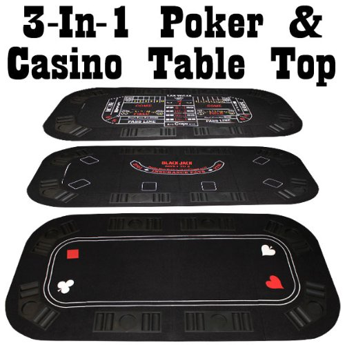 Poker, Craps & Blackjack 3-in-1 Tri-Fold Table Top - Includes 2 Decks of Cards! by Brybelly