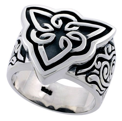 Sterling Silver Celtic Knot Men's Ring Flawless Quality 3/4 inch wide, size 9