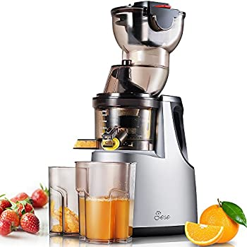"Slow Masticating Juicer, Jese 250W 37RPMs Extra-slow Cold Press Juice Extractor 3.4"" Wide Chute Anti-Oxidation Countertop Juicer for Juice, Baby Food, Smoothie, Ice Cream, etc"