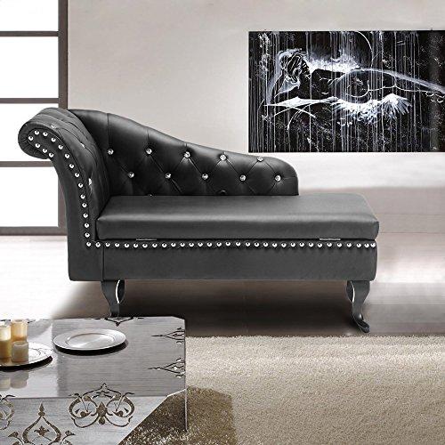 IKAYAA Modern Tufted PU Leather Chaise Lounge Scroll Style Sofa