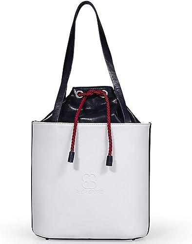Alea Spero bolso mujer de piel natural Tahoe Color (Blanco/rojo): Amazon.es: Zapatos y complementos