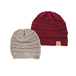 Trendy Warm Chunky Soft Stretch Cable Knit Slouchy Beanie Skully, 2 Pack: Burgundy/Taupe, One Size