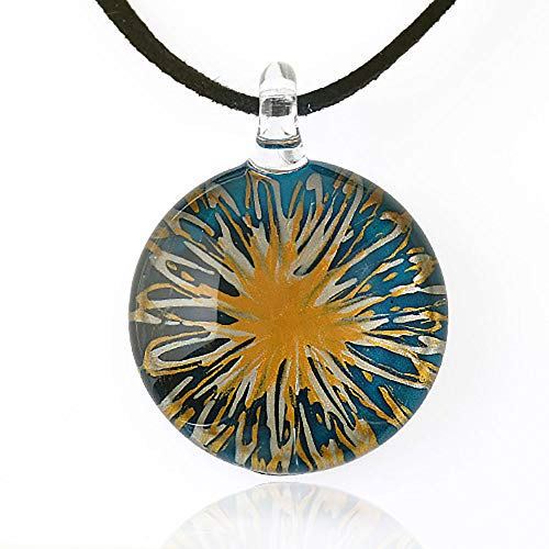 Mosaic Pendant Necklace - Chuvora Hand Blown Venetian Murano Glass Blue with Yellow Flower Pendant Necklace, 18-20 inches