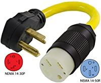 Conntek 30A NEMA 14-30P to 50-Amp Electric Vehicle Adapter Cord for Tesla
