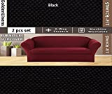 2 pcs Stretch Slipcovers Set, Couch/ Sofa And Loveseat Cover (Black)