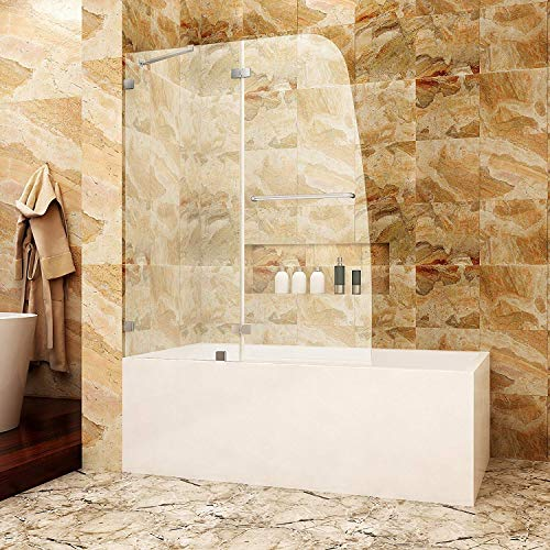 SUNNY SHOWER TD2 Bathtub Door Frameless Hinged Tub Door 5/16