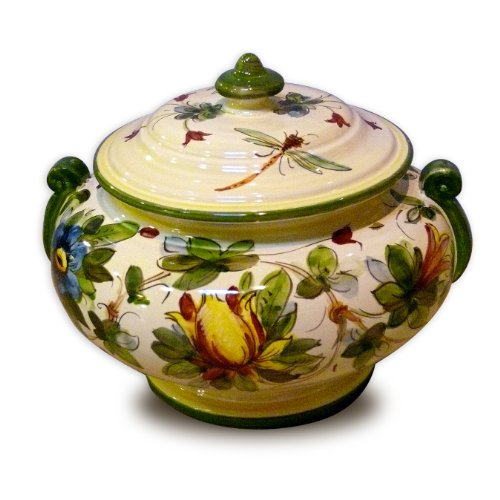 - Hand Painted Toscana Fiore Jar with Handles From Italy