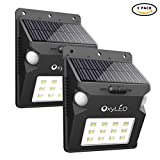 Solar Lights, OxyLED Wireless 12 LED Solar Motion Sensor Step Lights, Outdoor Wall Lights, Security Color-Changing Lights, Waterproof Landscape Light for Outdoor, Garden Decor, Patio, 2 Pack