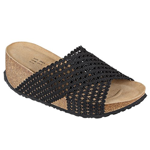 Seoul Women JOYCE Footbed Softbedded N Slippers Soft JOE Mesh Sandals Black qPtg7wEE