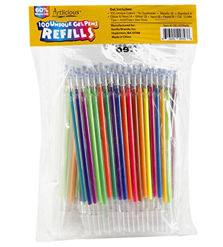 Free Glitter Pen (Artlicious - ULTIMATE 100 Unique Gel Pen Refills- Non Toxic & Acid Free - Ideal for Coloring Books)