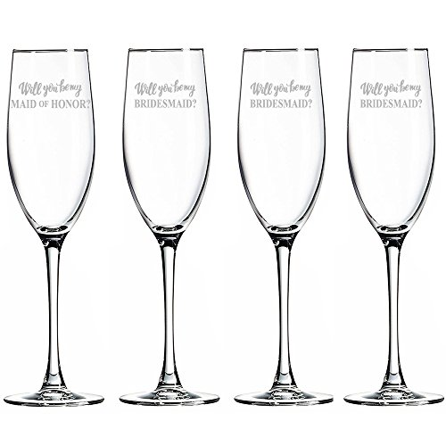 Will You Be My Maid of Honor and Bridesmaid Champagne Toasting Flute Glasses, Set of 4