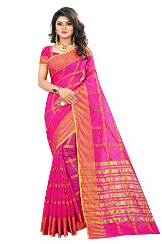 Lilots Latest Pink Color Manipuri Coton Silk Banarasi Saree Indian Women`S Party Wear Silk Saree With Unstitched Blouse Piece