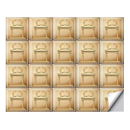 YOLIYANA Toga Party Stylish Ceramic Tile Stickers 20 Pieces,Antique Temple with Roman Olive Branch and Greek Architecture Motif for Home Restaurant,7.8