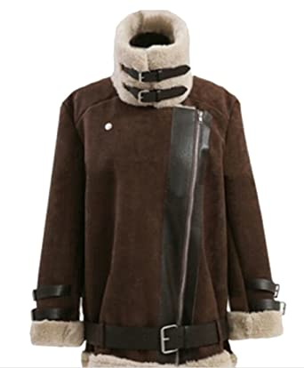 53412ebe3f53b Oberora-Women Plus Size Faux Suede Lamb Wool Lined Coat Shearling Moto  Jacket 1 XS