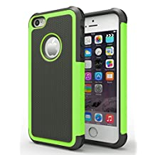 iPhone 5/5S Case, Hankuke Shock Absorption/High Impact Resistant Hybrid Dual Layer Armor Defender Full Body Protective Cover Case for iPhone 5/5S - black+green