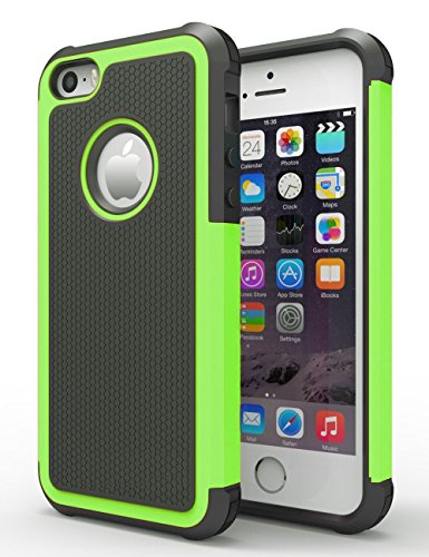 iPhone 6/6s Plus Case,Hankuke Hybrid double Layer entire Body Shock Proof Protcetive Armor Defender Cover event for iPhone 6/6S Plus (5.5 inch screen) - black+green