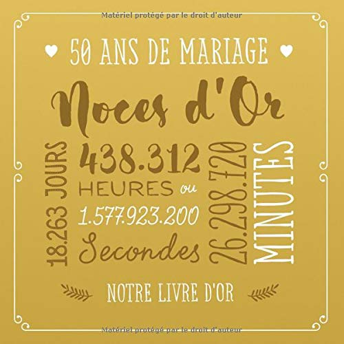 50 Ans De Mariage Noces Dor Livre Dor Pour La Fête Du