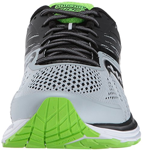 Saucony Ride 10, Scarpe Running Uomo Multicolore (Grey/Black/Slime)