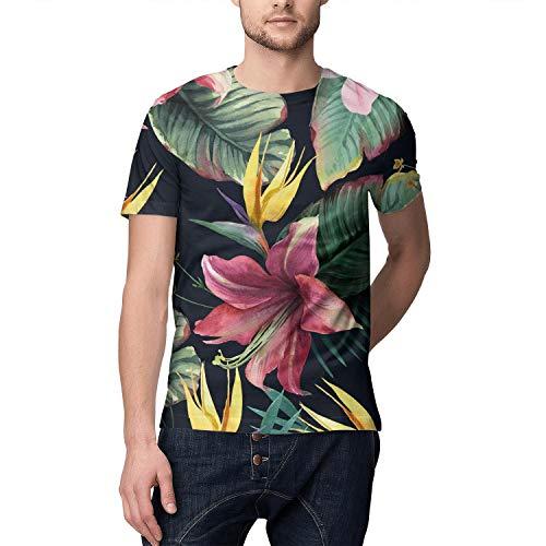 Tropical Floral Hawaiian Jungle Full Printed Short Sleeve T-Shirts Men ()