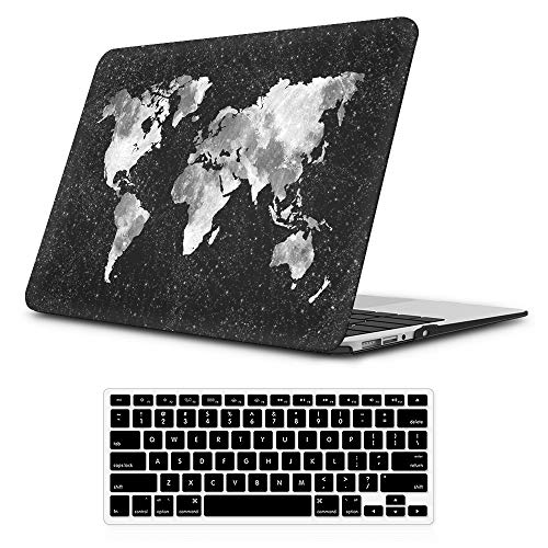 iLeadon MacBook Air 13 inch Protective Hard Case Soft Touch Ultra Thin Shell Cover+Keyboard Cover for Older Version MacBook Air 13 inch Model A1369/A1466 (MacBook Air 13, Nebula Map)
