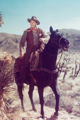Ronald Reagan On Horseback Old Western Color Poster