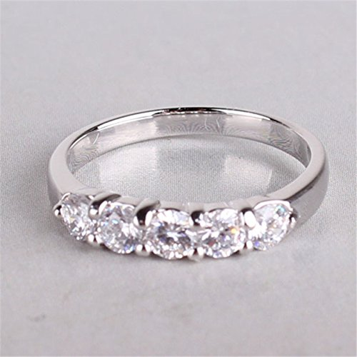 GemMart Jewelry Fashion Pave Crystal Ring White Gold Filled Cubic Zirconia Engagement Ring Jewelry R032