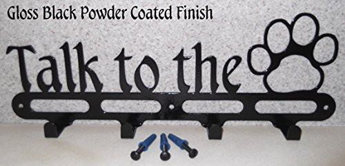 Dog Leash Holder. Talk to the Paw. Wall Storage. Solid Steel. Screws included. Handmade in USA