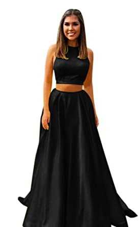 Harsuccting Halter Two Piece Satin Long Evening Gown Prom Dress With Pocket Black 2