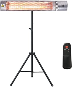 KAPAS 1500W Space Heater, Indoor & Outdoor Infrared Heater with Wall Mounted, Ceiling Acessories, Premium Tripod Stand and Remote Control, Suiteable to Home, Patio, Balcony, Garage, Garden, Commercial, Restaurant.