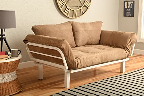 White Metal Frame Small Futon Lounger Furniture for Studio Loft College Dorm Apartments Guest Room Bedroom Covered Patio Sunroom or Porch-Twin Size (Apartment Size Living Room Furniture)