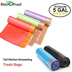 Trash bags by RhinOProof Garbage Bags Kitchen Wastebasket Bags Drawstring Strong Durable Thicken Fit 19 Liter Trash Can Liner 5 Gallon 0.48 Mil 75 Count Color Random