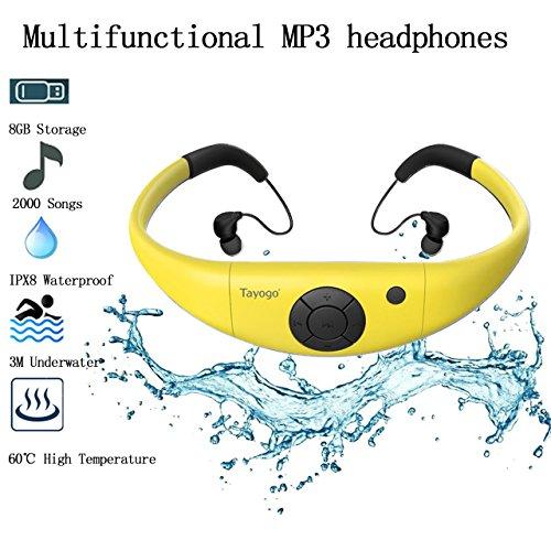 Tayogo 8GB Waterproof MP3 Player, IPX8 Swimming Waterproof Headphones Work for 6-8 Hours Underwater 3 Meters with Shuffle Feature - ()