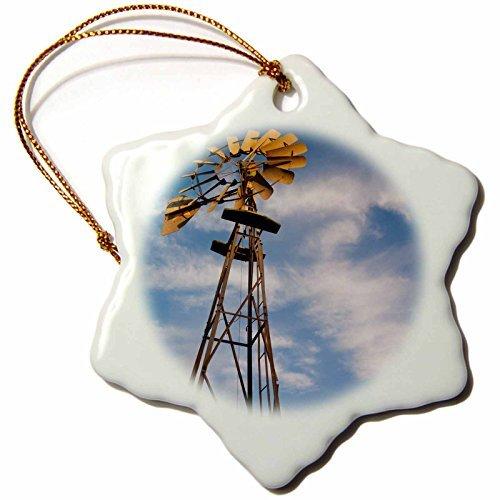Danita Delimont Walter Bibikow Windmills USA, Oklahoma, Elk City, Vintage Farm Windmills, Sunset Snowflake Porcelain Ornament -