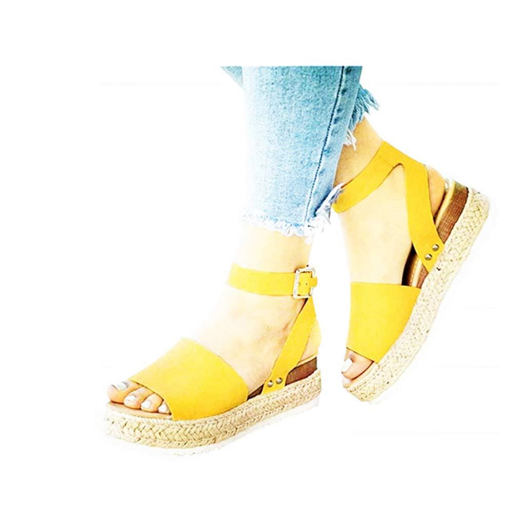 Dressin Womens Platform Sandals 2019 Espadrille Wedge Ankle Strap Studded Open Toe Sandal Summer Slingback Shoes