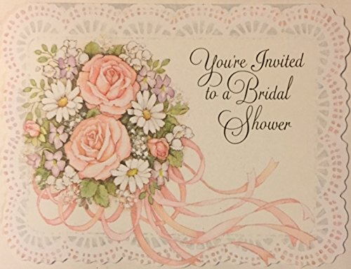 (8) Lace Rose Bouquet Bridal Shower Invitation Cards - 8 Fill-in Invitation Cards and Scalloped Edge White Envelopes- 4 x 5 1/4 (Invitations Bridal Bouquet)