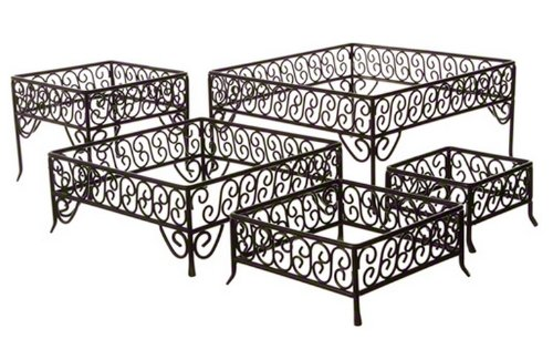 American Metalcraft SSRS8 Iron Wrought Riser Stands, Square, Black, Set of 6
