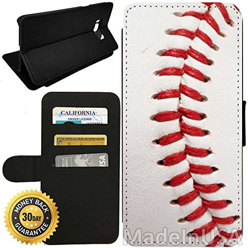 Flip Wallet Case for Galaxy S8 (Baseball Design) with Adjustable Stand and 3 Card Holders | Shock Protection | Lightweight | by Innosub
