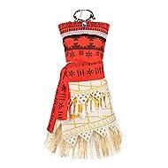 JerrisApparel Princess Moana Costume Skirt Set Little Girls Cosplay Dress Up (2T-3T, Multicolor)