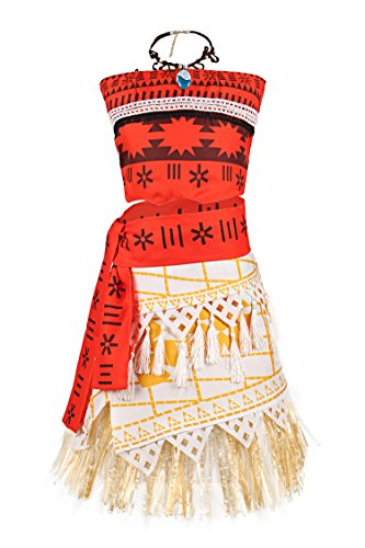 JerrisApparel Princess Moana Costume Skirt Set Little Girls Cosplay Dress Up (4T-5, Multicolor) -