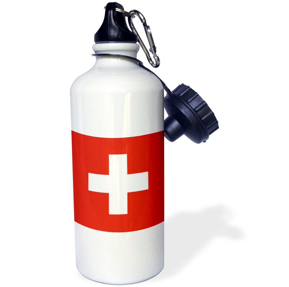 3dRose wb_158442_1 ''Flag of Switzerland-Swiss red and white cross-Europe-European country-world travel souvenir'' Sports Water Bottle, 21 oz, White