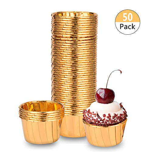 BTSD-home Gold Foil Metallic Paper Baking Cups Muffin Cups Cupcake Liners 50-Count Cake Baking Cups for Wedding Party, Birthday Decorations, Baby Shower,Graduation Events (Gold) -