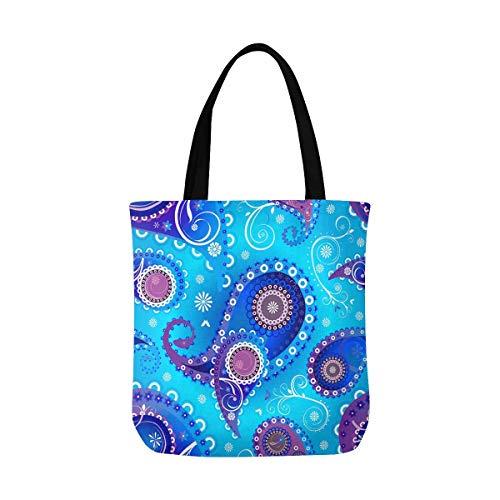 InterestPrint Paisley Blue Canvas Tote Bag Handbag Shoulder Bag for Women Girls