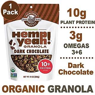 Manitoba Harvest Hemp Yeah! Granola, Dark Chocolate, 10oz, with 10 g of Protein, 3 g Omegas, 3 g of Fiber and less than 10 g Sugar Per Serving, Organic, Non-GMO