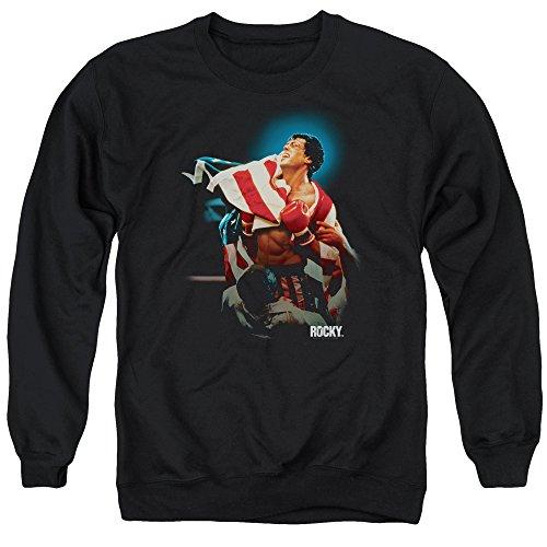 Rocky Victory Unisex Adult Crewneck Sweatshirt for Men and Women, X-Large Black